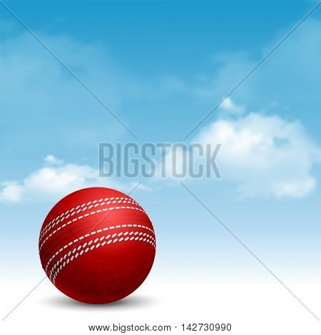 Cricket Ball on Cloudy Sky Background. Realistic Vector Illustration.