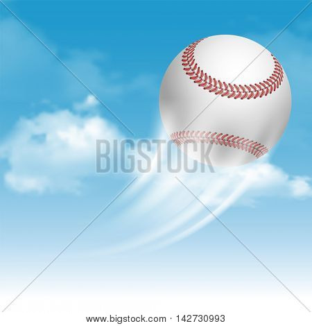 Baseball Ball Flying on Cloudy Sky Background. Realistic Vector Illustration.