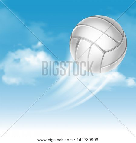Volleyball Ball Flying on Cloudy Sky Background. Realistic Vector Illustration.