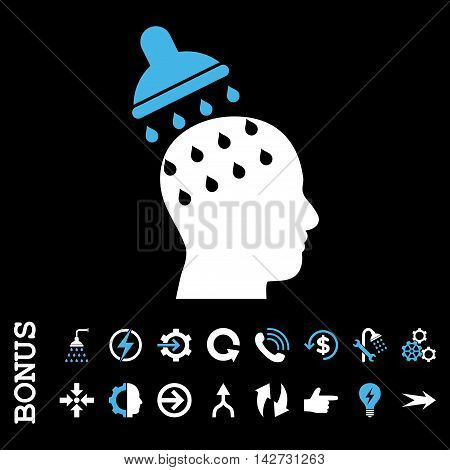 Brain Washing vector bicolor icon. Image style is a flat iconic symbol, blue and white colors, black background.