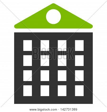 Multi-Storey House icon. Vector style is bicolor flat iconic symbol with rounded angles, eco green and gray colors, white background.