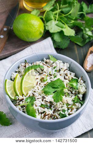 Bowl of cilantro and lime basmati rice closeup