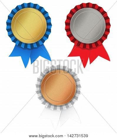 vector set of blank round texture with medals of gold silver bronze and red blue white ribbon gathered in the rosette