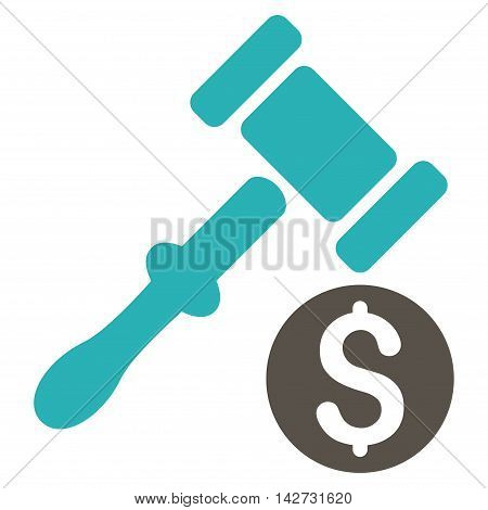 Auction icon. Vector style is bicolor flat iconic symbol with rounded angles, grey and cyan colors, white background.