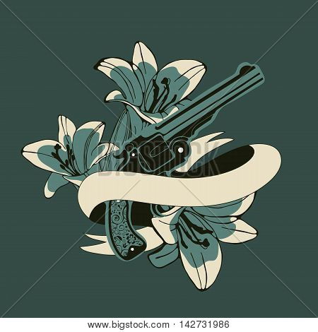 Classic revolvers and lilly flowers emblem. vector illustration