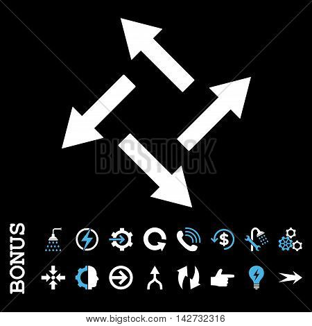 Centrifugal Arrows vector bicolor icon. Image style is a flat iconic symbol, blue and white colors, black background.
