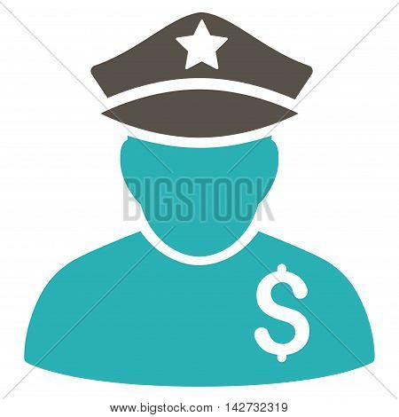 Financial Policeman icon. Vector style is bicolor flat iconic symbol with rounded angles, grey and cyan colors, white background.
