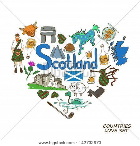 Colorful sketch collection of Scottish symbols. Heart shape concept. Scotland travel background.