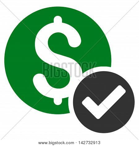 Approved Payment icon. Vector style is bicolor flat iconic symbol with rounded angles, green and gray colors, white background.