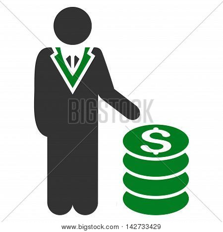 Businessman icon. Vector style is bicolor flat iconic symbol with rounded angles, green and gray colors, white background.