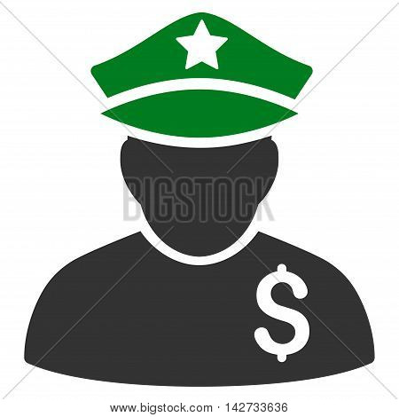 Financial Policeman icon. Vector style is bicolor flat iconic symbol with rounded angles, green and gray colors, white background.