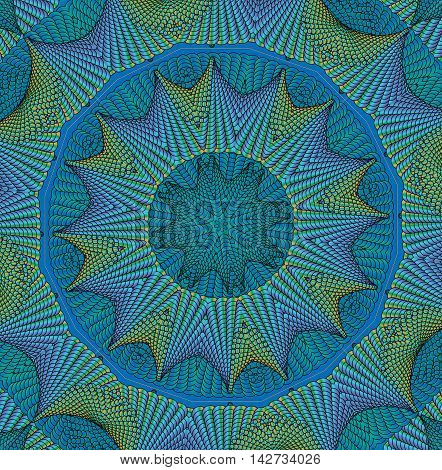 Kaleidoscopic turquoise pattern. The image is computer graphics created using various programs. It can be used in the design of your site design textile printing industry in a variety of design projects.