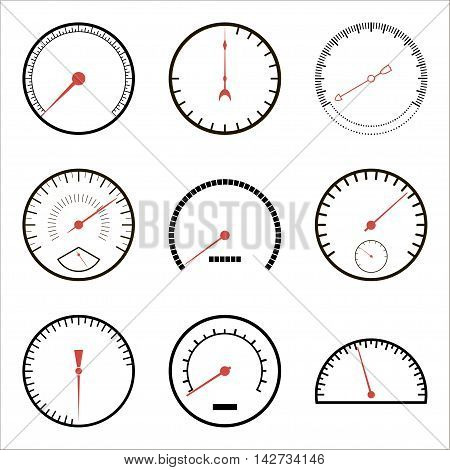 Speedometer icons isolated on a white background. Vector illustration