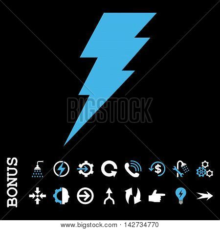 Execute vector bicolor icon. Image style is a flat iconic symbol, blue and white colors, black background.