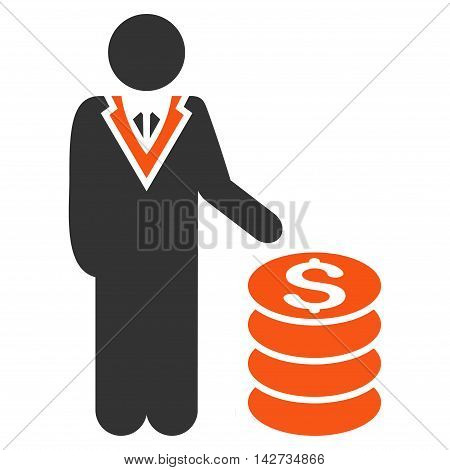 Businessman icon. Vector style is bicolor flat iconic symbol with rounded angles, orange and gray colors, white background.