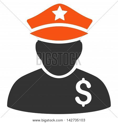Financial Policeman icon. Vector style is bicolor flat iconic symbol with rounded angles, orange and gray colors, white background.