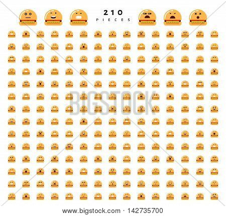 Great set of 224 emotions of hamburgers isolated on white background. Characters smile Emoji for Web. Anger and compassion. Laughter, tears. Smile sadness surprise. Happiness fear.