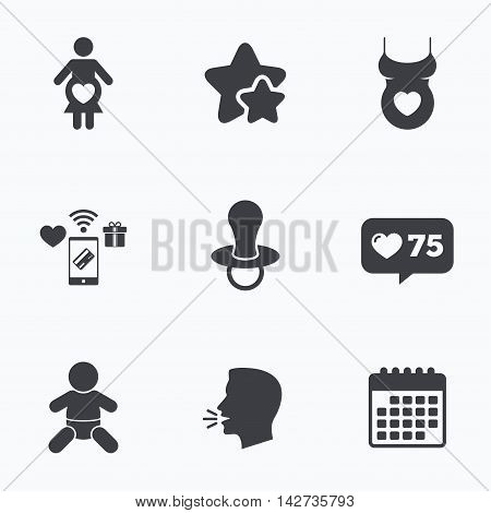 Maternity icons. Baby infant, pregnancy and dummy signs. Child pacifier symbols. Shirt with heart. Flat talking head, calendar icons. Stars, like counter icons. Vector