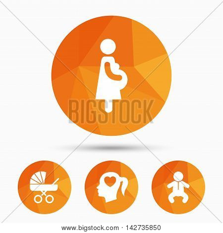 Maternity icons. Baby infant, pregnancy and buggy signs. Baby carriage pram stroller symbols. Head with heart. Triangular low poly buttons with shadow. Vector