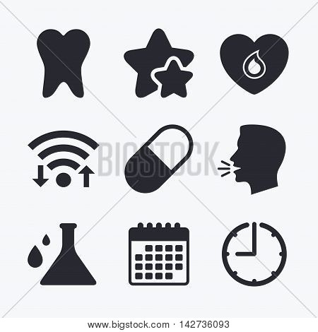 Maternity icons. Pill, tooth, chemistry and heart signs. Blood donation symbol. Lab bulb with drops. Dental care. Wifi internet, favorite stars, calendar and clock. Talking head. Vector