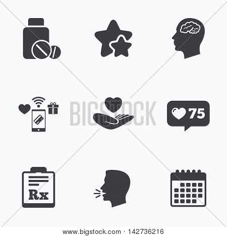 Medicine icons. Medical tablets bottle, head with brain, prescription Rx signs. Pharmacy or medicine symbol. Hand holds heart. Flat talking head, calendar icons. Stars, like counter icons. Vector