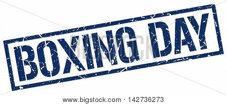 boxing day stamp. blue grunge square isolated sign