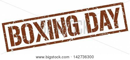 boxing day stamp. brown grunge square isolated sign