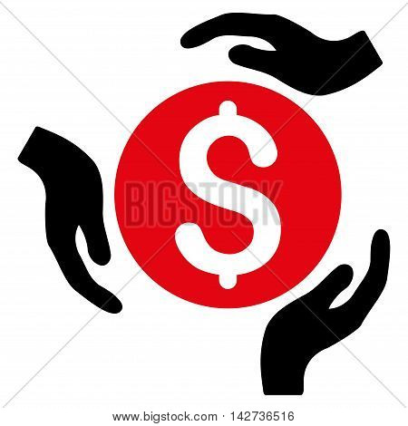 Money Care Hands icon. Vector style is bicolor flat iconic symbol with rounded angles, intensive red and black colors, white background.