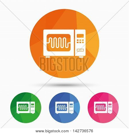 Microwave oven sign icon. Kitchen electric stove symbol. Triangular low poly button with flat icon. Vector