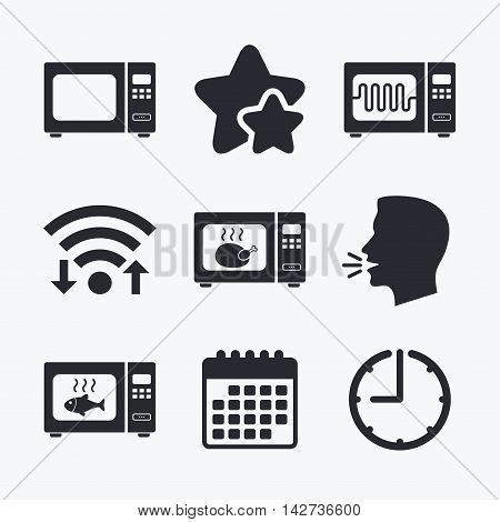 Microwave oven icons. Cook in electric stove symbols. Grill chicken and fish signs. Wifi internet, favorite stars, calendar and clock. Talking head. Vector