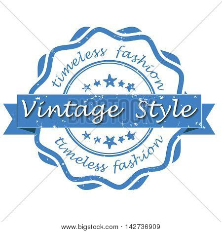Vintage style, timeless fashion - blue grunge label / stamp. Print colors used