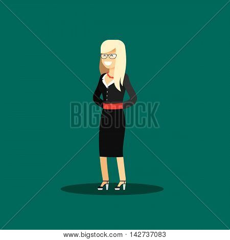 Business woman in black costume vector illustration. Office staff, isolated characters girl happy face, people success, manager and employee. Business concept in flat. Educational aspirations of man
