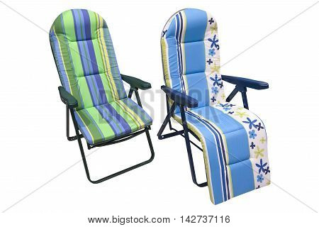 foldable beach chair isolated on white background