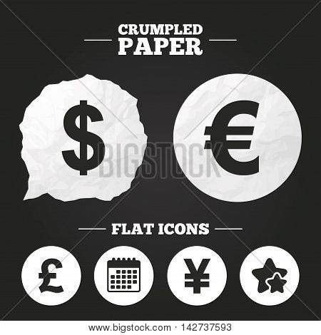 Crumpled paper speech bubble. Dollar, Euro, Pound and Yen currency icons. USD, EUR, GBP and JPY money sign symbols. Paper button. Vector