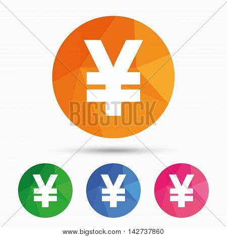 Yen sign icon. JPY currency symbol. Money label. Triangular low poly button with flat icon. Vector