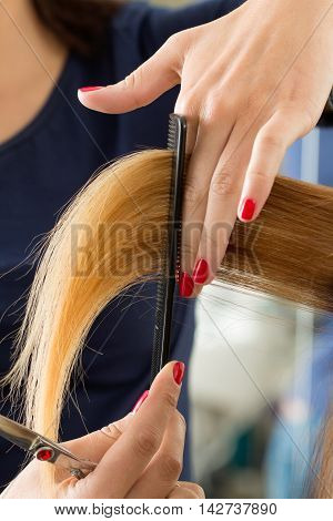 Close up view of female hairdresser hands cutting hair tips. Keratin restoration healthy hair latest hair fashion trends changing haircut style shorten split ends instrument store concept
