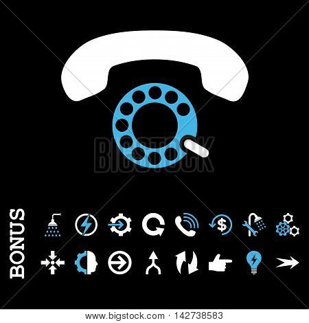 Pulse Dialing vector bicolor icon. Image style is a flat iconic symbol, blue and white colors, black background.