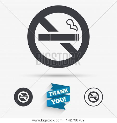 No Smoking sign icon. Quit smoking. Cigarette symbol. Flat icons. Buttons with icons. Thank you ribbon. Vector