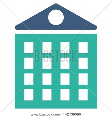 Multi-Storey House icon. Vector style is bicolor flat iconic symbol with rounded angles, cobalt and cyan colors, white background.