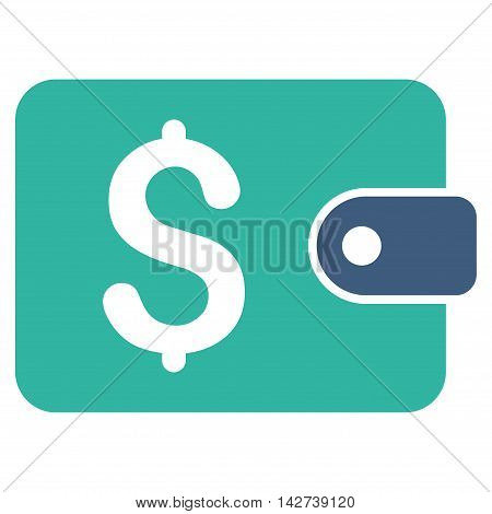 Purse icon. Vector style is bicolor flat iconic symbol with rounded angles, cobalt and cyan colors, white background.
