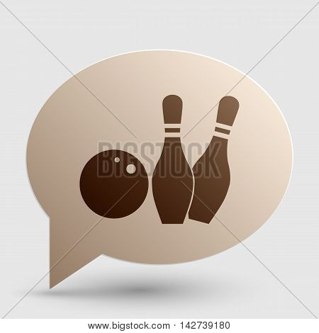 Bowling sign illustration. Brown gradient icon on bubble with shadow.