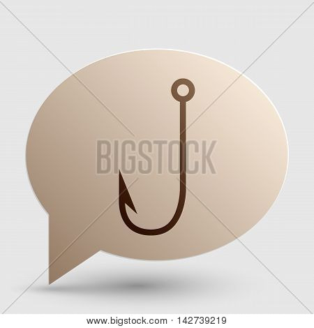 Fishing Hook sign illustration. Brown gradient icon on bubble with shadow.
