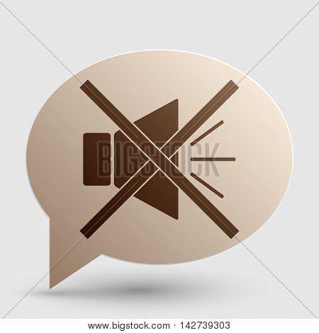 Sound sign illustration with mute mark. Brown gradient icon on bubble with shadow.