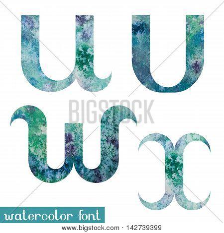 Colorful green-blue watercolor paint alphabet letters U, V, W, X - vector Illustration