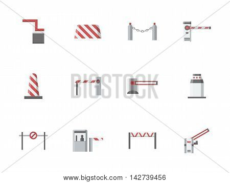 Traffic barriers and gates, borders and stoppers. Equipment for checkpoints, parking, railroad crossing. Access control elements. Set of flat color style vector icons.