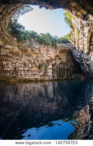 Famous Melissani Lake On Kefalonia Island In Greece