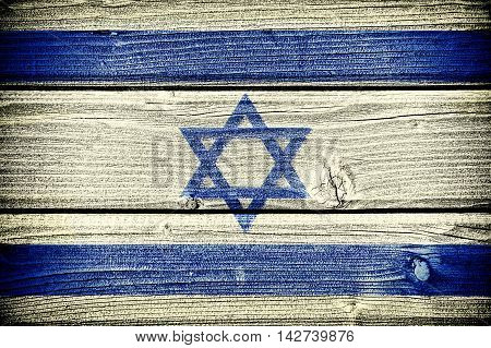 flag of Israel painted on old grungy wooden background:  3d illustration