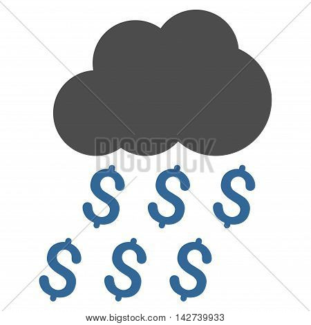 Money Rain icon. Vector style is bicolor flat iconic symbol with rounded angles, cobalt and gray colors, white background.