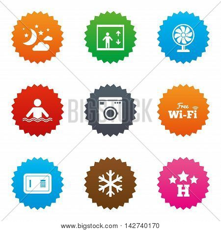 Hotel, apartment service icons. Washing machine. Wifi, air conditioning and swimming pool symbols. Stars label button with flat icons. Vector