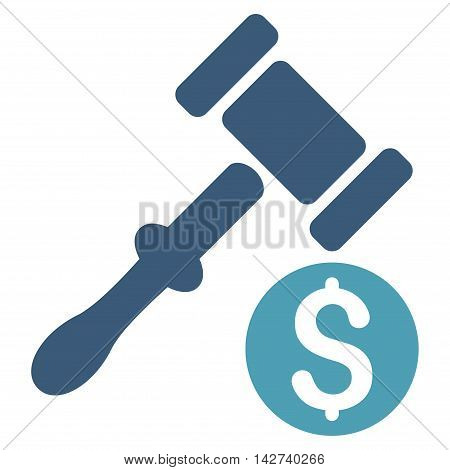 Auction icon. Vector style is bicolor flat iconic symbol with rounded angles, cyan and blue colors, white background.